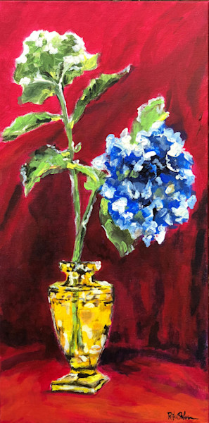 Hydrangeas in Gold Crystal on Red | Fine Art Painting Print by Rick Osborn