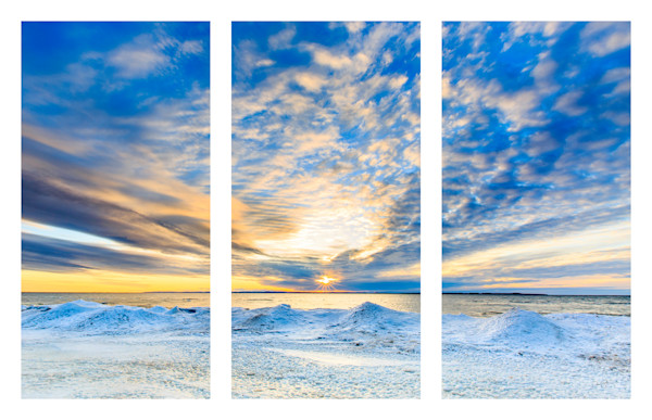 Winter Sunrise - On The Rocks - Triptych
