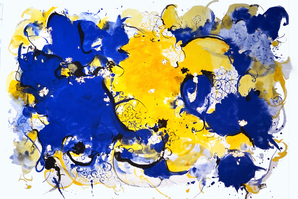 abstract blue with saffron and majorelle blue