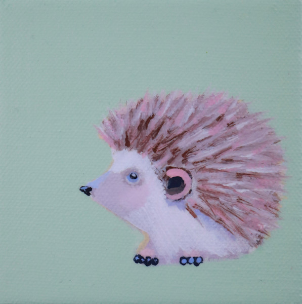 "MINI Hedgehog ""Comet"" on Pale Celery Green 4 x 4"