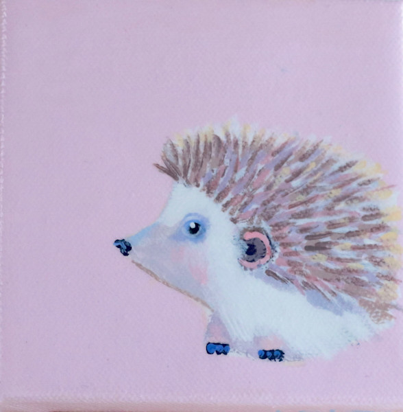 "SOLD - MINI Hedgehog ""Smooch""  in Pink Ribbon 4 x 4"