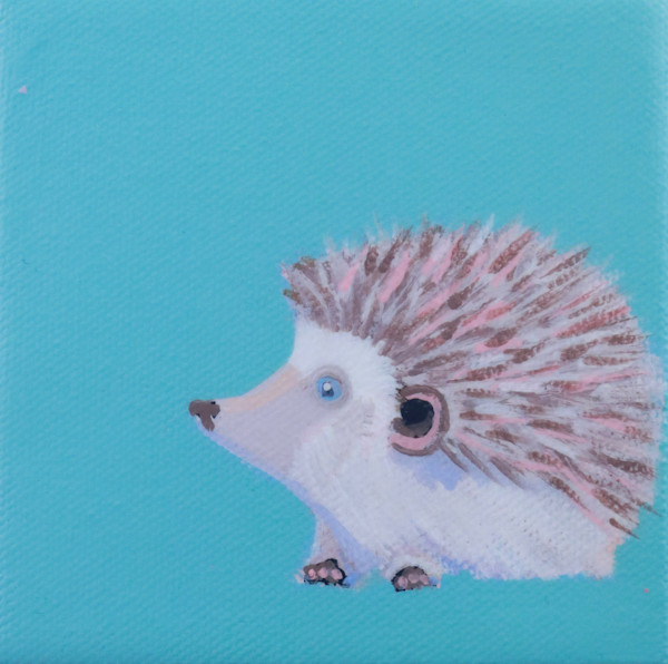 "SOLD - MINI Hedgehog ""Donner"" on Pool Party Blue 4 x 4"