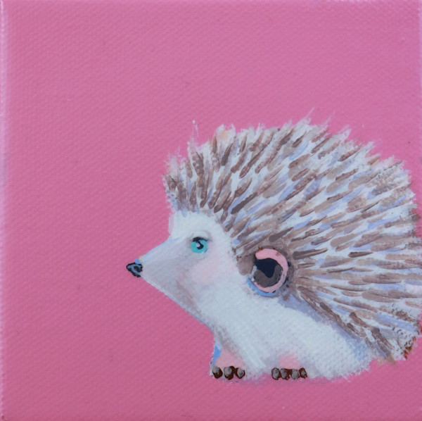 "SOLD - MINI Hedgehog ""Cupid"" on Deep Carnation Pink 4 x 4"