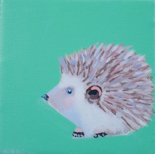 "SOLD - MINI ""Prancer"" Hedgehog"" Key West Aqua 4 x 4"