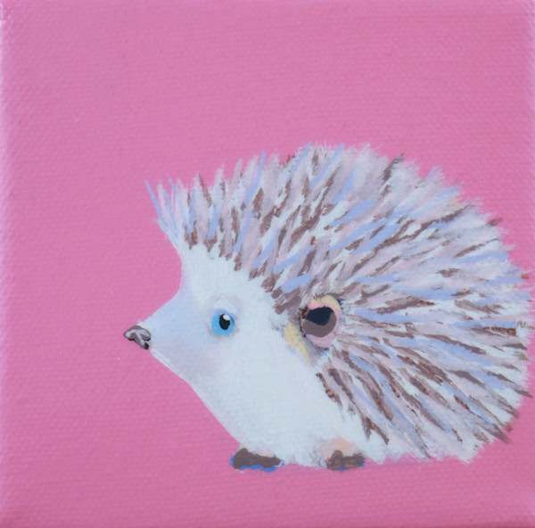"SOLD - MINI Hedgehog ""Vixen"" on Deep Carnation 4 x 4"