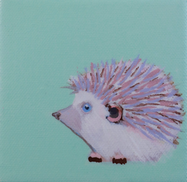 "SOLD - MINI ""Dasher"" Hedgehog Pale Mint 4 x 4"