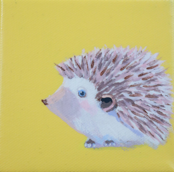 "SOLD - MINI Hedgehog ""Dancer"" on Sunny Yellow 4 x 4"