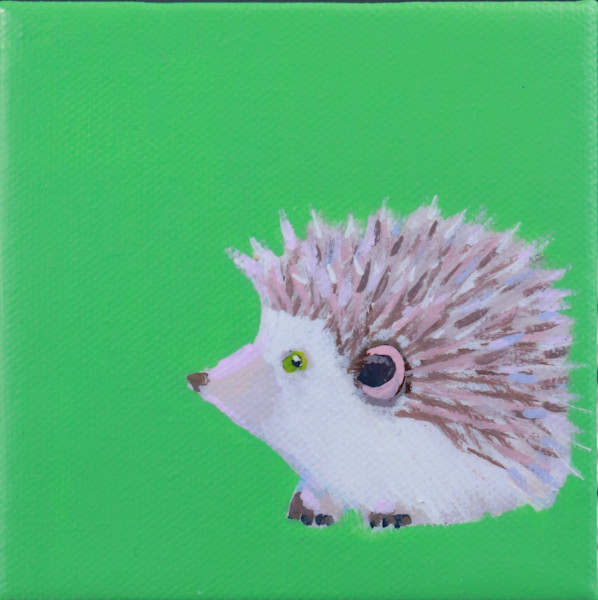 "SOLD - MINI Hedgehog ""Blixen"" Celery green 4 x 4"