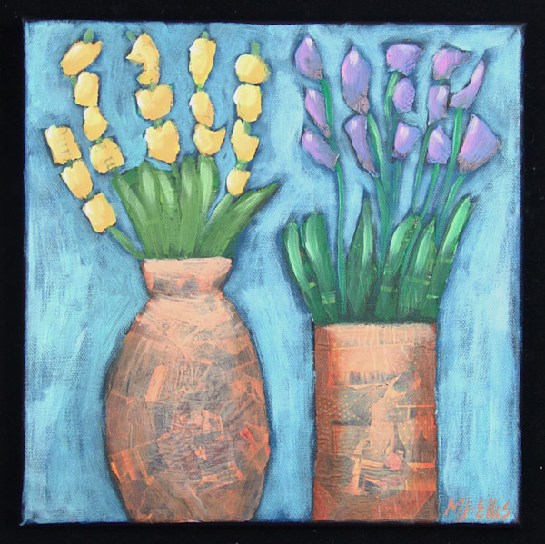 torn paper collage with flowers, lavender and mimosa, in purple, yellow and copper brown, art, paintings on canvas, Mariann Johansen-Ellis floral collages on canvas
