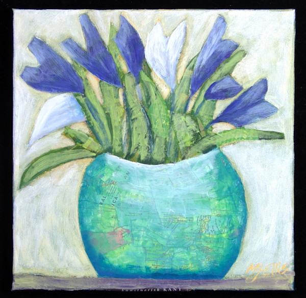 blue and white iris still life torn paper collage on canvas by Mariann Johansen-Ellis, art on canvas, painting on canvas