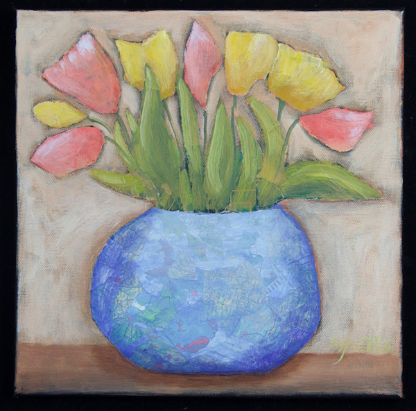 red and yellow tulips in a blue vase in this still life floral collage on canvas by Mariann Johansen-Ellis, art , paintings