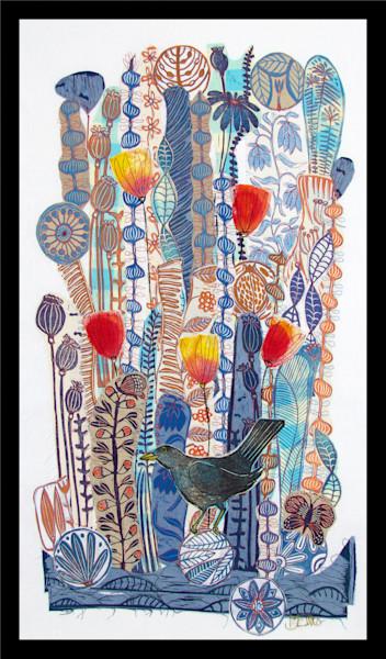 Winter Blue - linocut collage on fabric