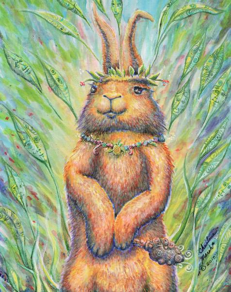 Rabbit Shaman Acrylic Painting