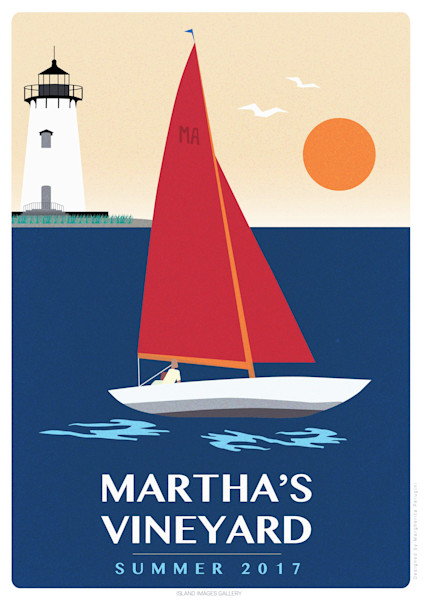 Martha's Vineyard Summer Poster with Sailboat