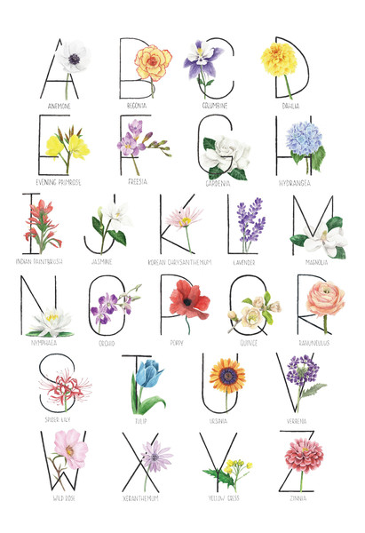 Botanical Alphabet - Vertical
