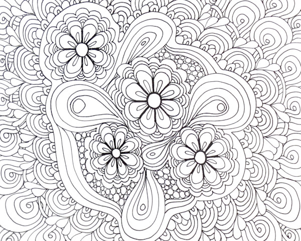 Flower Tangle Color It Art For Sale