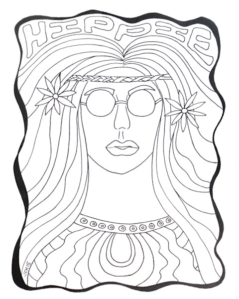 Hippie Chick Color It DIY Art For Sale