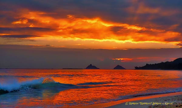 Awesome red and orange sunrise in Kailua Bay - available exclusively from Robert Abbett Art!
