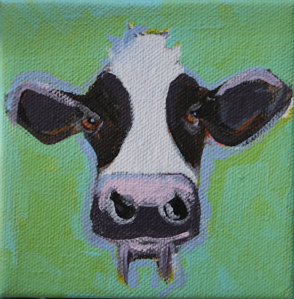 "MINI ""Sunday"" the Black and White Cow 4 x 4"