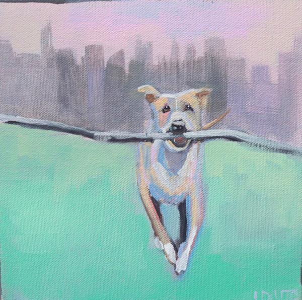"MAXI - ""CITY BOY"" Dog With a Stick 8 x 8"