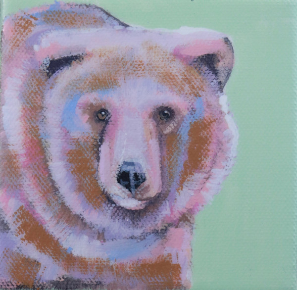"MINI ""Brady"" the Bear  on pale green 4 x 4"