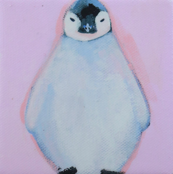 "SOLD - MINI ""Silver"" Emperor Penguin on Pink  4 x 4"