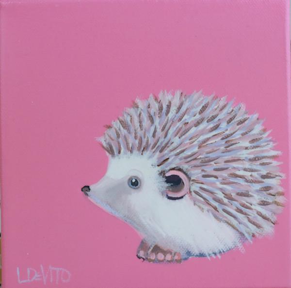 """MIDI  Hedgehog """"Taffy"""" on Deep Carnation Pink 6 x 6"""