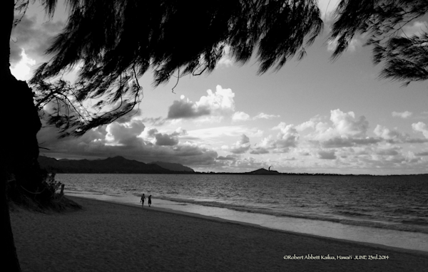 Kailua Bay in the evening Black and White