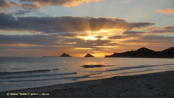 Sunrise, god rays, Kailua Beach, Kailua Hawaii water photography Robert Abbett Art!