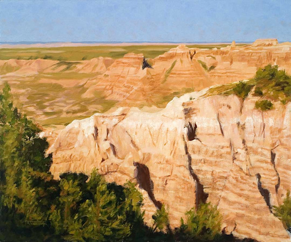 Raymond Wattenhofer Original Art Oil Painting Badlands Summer
