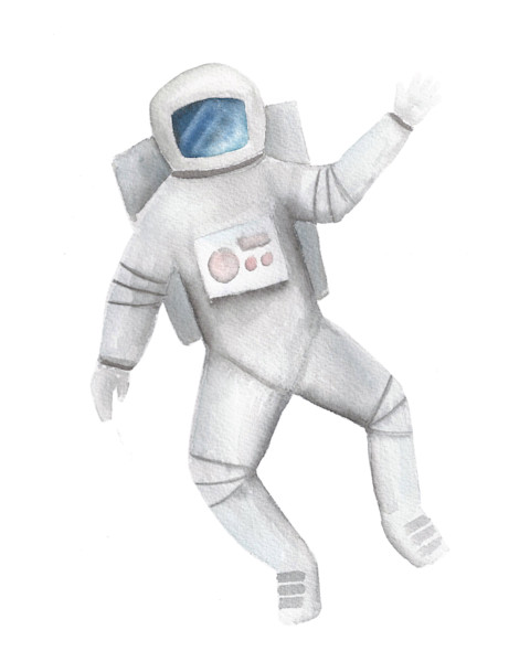 Spaceman Original Watercolor Painting