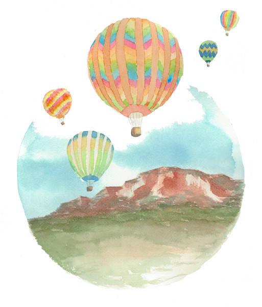 Albuquerque Balloon Fiesta Original Watercolor Painting