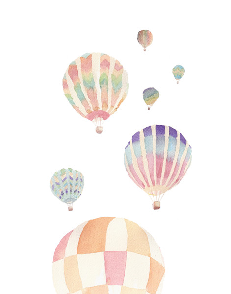 Hot Air Balloon Original Watercolor Painting