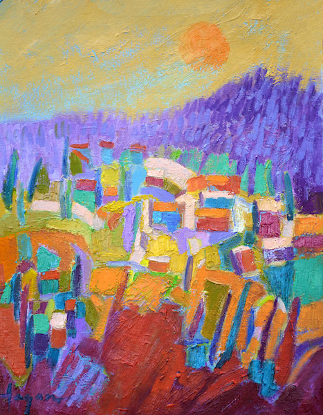 Fertile Dream, Red Abstract Landscape Oil Painting