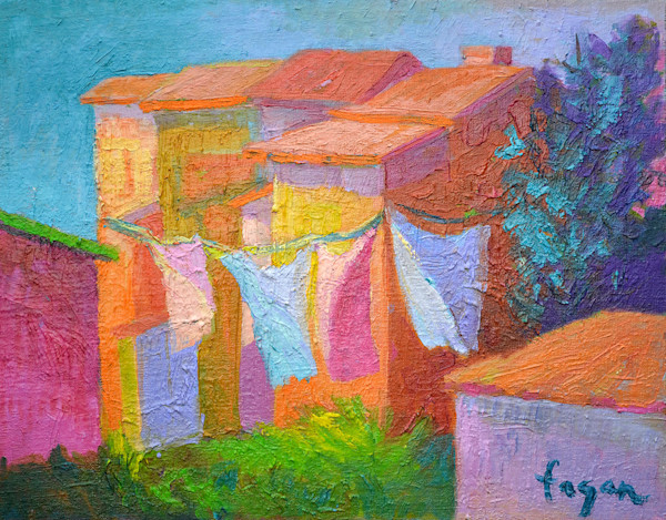 Fresh Air, Colorful Abstract Architecture with Laundry