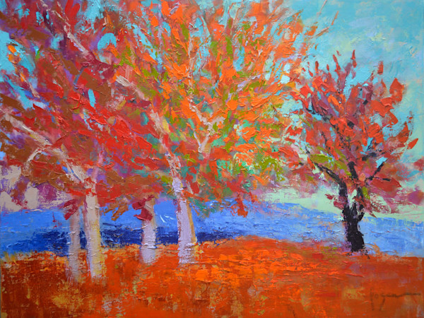 Contemporary Abstract Trees, Red Oak, Original Oil Painting by Dorothy Fagan