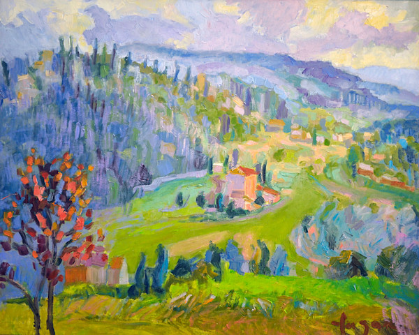 Colorful Tuscany Vineyard Painting, Castle of Nipozzano Original Art by Dorothy Fagan
