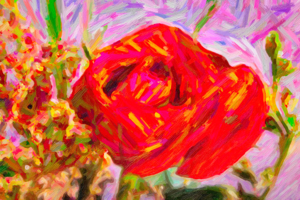Red Rose Garden Delight Painting 3188.02