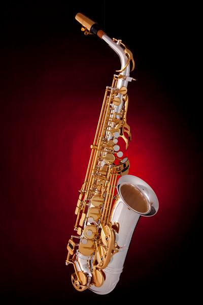 Saxophone on Red Spotlight 4360v