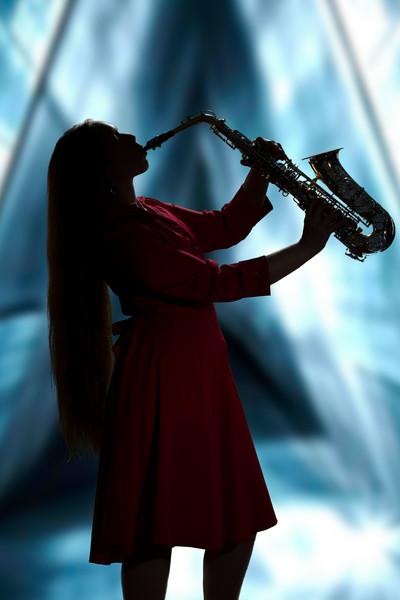 Silhouette Sax Musician in Color 3353.02