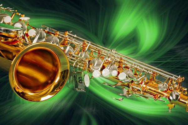 Sax Swirl Music  Art Painting in Green 3249.02