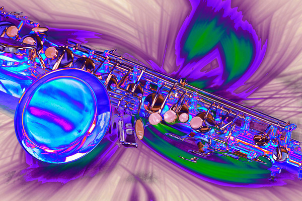 Saxophone Swirl Music Art in Blue 3248.03