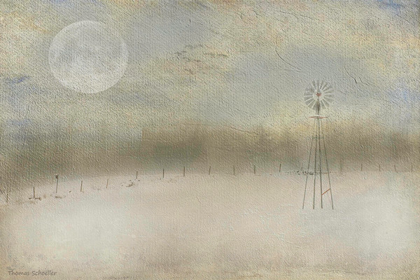 A Pastoral impressionist winter landscape with Windmill and full moon fine art print/purchase artwork by Thom Schoeller