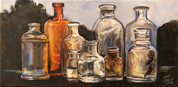 Sunlit Bottles by Cathy Groulx | SavvyArt Market original oil painting