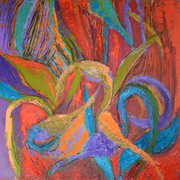 Inner Sanctum Original Oil Painting, Red Abstract Canvas