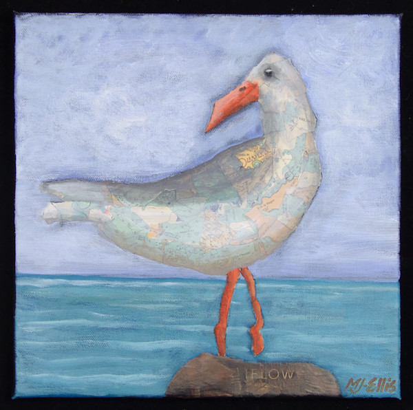 Jersey gull - torn paper collage on canvas