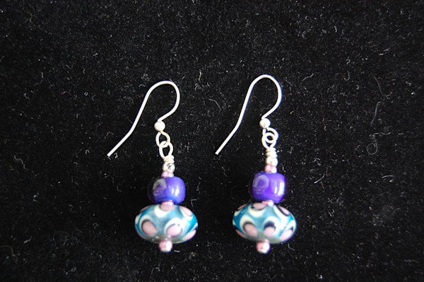 Pink, Indigo, and Blue Fused Glass Earrings hand crafted by artists Sage and Tom Holland.