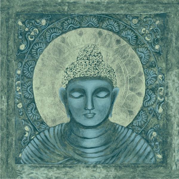 Awake Buddha, blue print by Andrea Bowes.