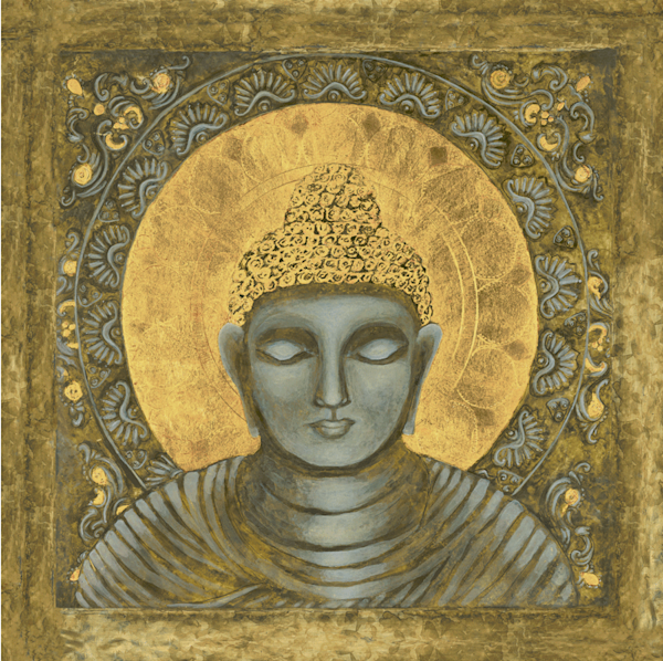 Awake Buddha in Gold print by Andrea Bowes.