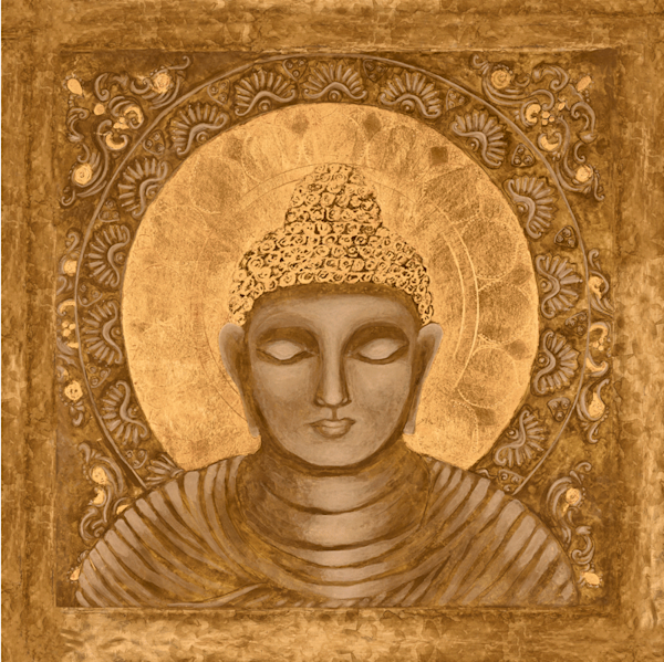 Awake Buddha in orange print by Andrea Bowes.